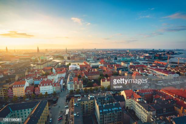 panoramic view of copenhagen, denmark. - copenhagen stock pictures, royalty-free photos & images