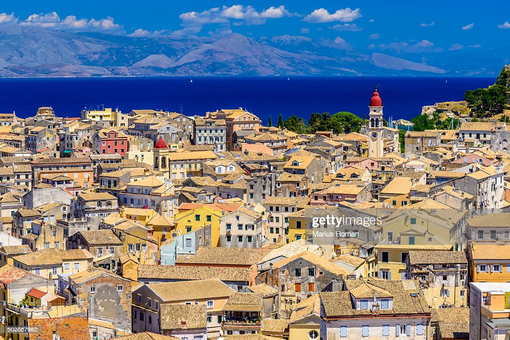 Panoramic view of Corfu Old Town, Ionian Islands, Greece. : Stock Photo