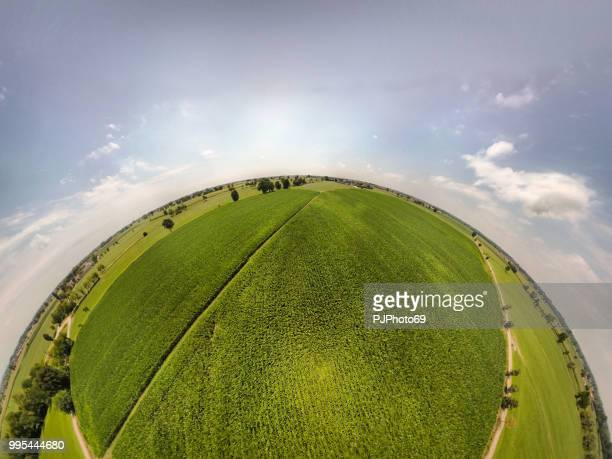 360° panoramic view of corn fields - fish eye foto e immagini stock