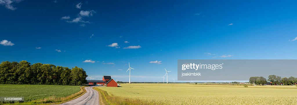 Panoramic view of countryside of Sweden with wind turbines : Stockfoto