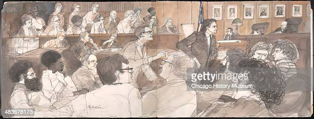 Panoramic view of courtroom with the defendants, prosecutors, jury, and judge, in a courtroom illustration during the trial of the Chicago Eight,...