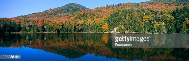 panoramic view of crawford notch state park in the white mountains - lake solitude (new hampshire) stock photos and pictures