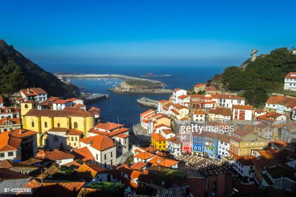 panoramic view of cudillero from the top of the village, asturias, spain - oviedo stock pictures, royalty-free photos & images