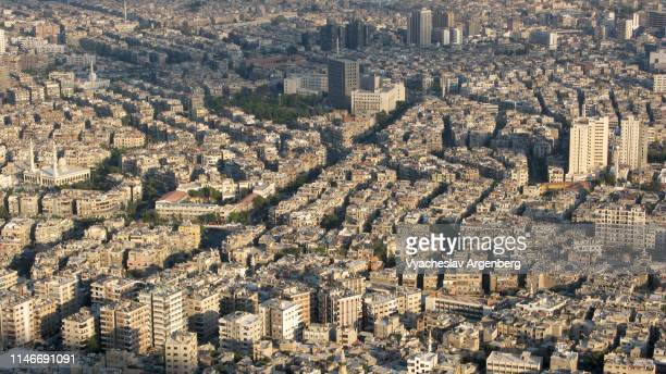 panoramic view of damascus at sunset - argenberg stock pictures, royalty-free photos & images
