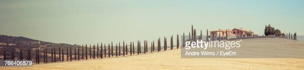 panoramic view of desert against clear sky during sunny day - andre wilms eyeem stock-fotos und bilder