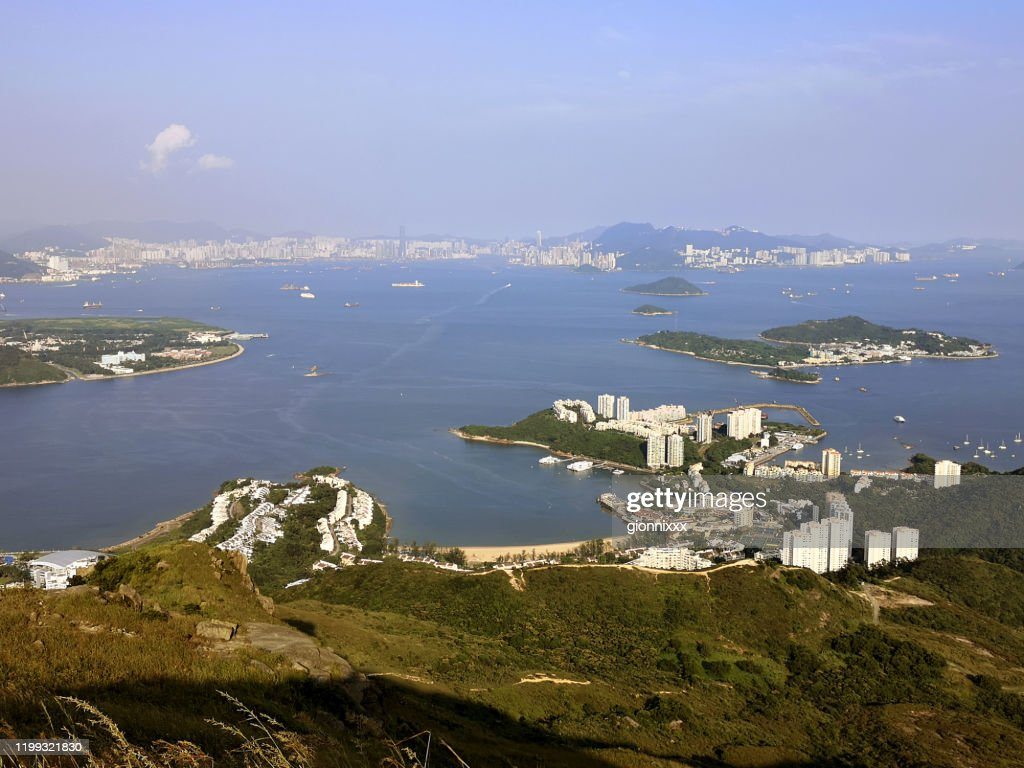 Panoramic view of Discovery Bay from Lo Fu Tau country trail, Lantau, Hong Kong : Stock Photo