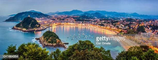 panoramic view of donisti san sebastian at sunset. euskadi, spain - spain stock pictures, royalty-free photos & images