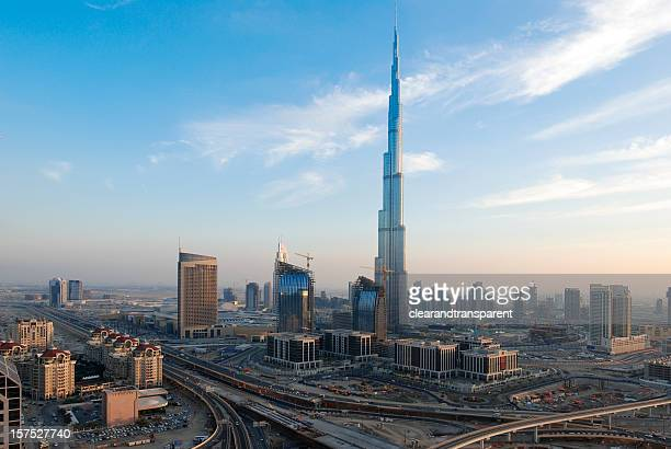 panoramic view of downtown dubai - burj khalifa stock pictures, royalty-free photos & images