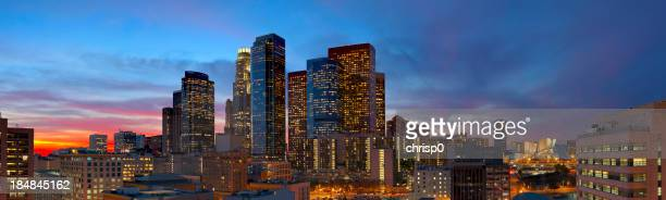 Panoramic View of Downtown Los Angeles at Dusk