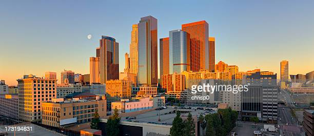 Panoramic view of downtown Los Angeles at sunrise