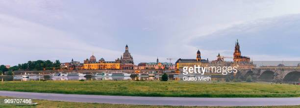 Panoramic view of  Dresden skyline and Elbufer, Saxony, Germany.