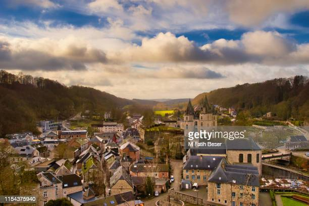 panoramic view of durbuy, the smallest city in the world. autumn colors. - リュクサンブール州 ストックフォトと画像