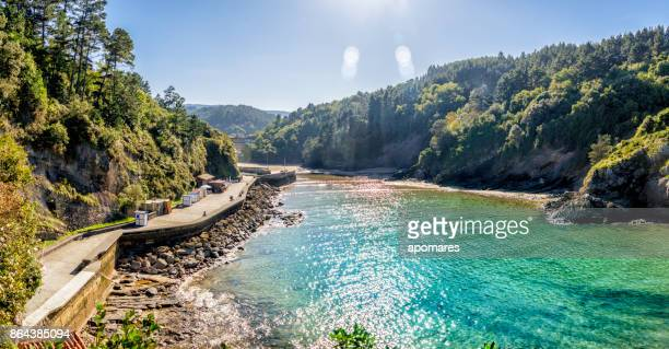 Panoramic view of Ea river estuary at Ea town, Basque Country, Spain