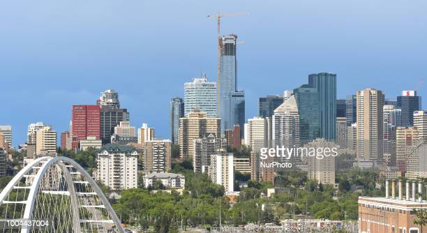 Panoramic view of Edmonton's downtown with Stantec Tower under construction. On Sunday, July 22 in Edmonton, Alberta, Canada.