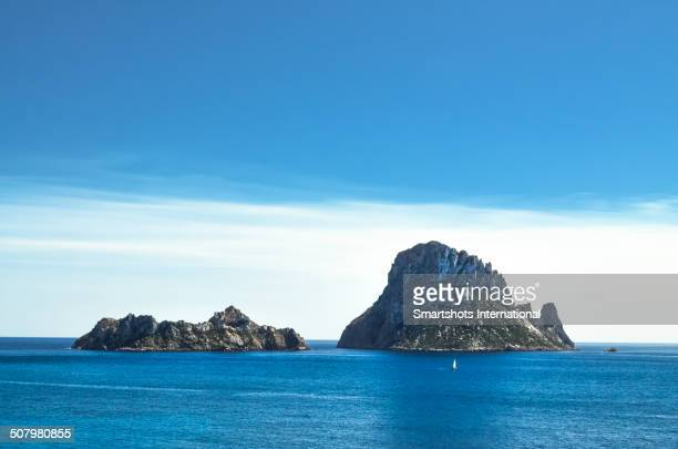 Panoramic view of Es Vedra islands in Ibiza