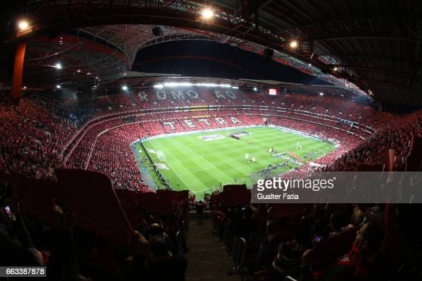 Panoramic view of Estadio da Luz before the start of the Primeira Liga match between SL Benfica and FC Porto at Estadio da Luz on April 1 2017 in...