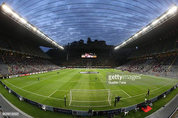 Panoramic view of Estadio Municipal de Braga before the start of the UEFA Europa League match between SC Braga and KAA Gent at Estadio Municipal de...