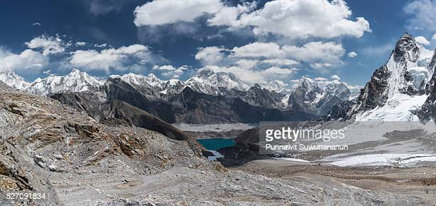 Panoramic view of Everest mountain from Renjo la pass, Everest region