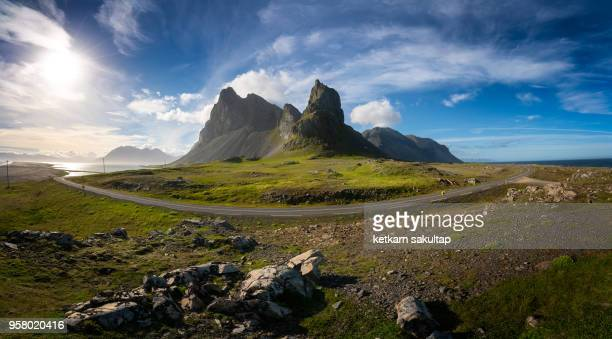 Panoramic view of Eystrahorn mountain, South East of Iceland, Hvalnesfjall.