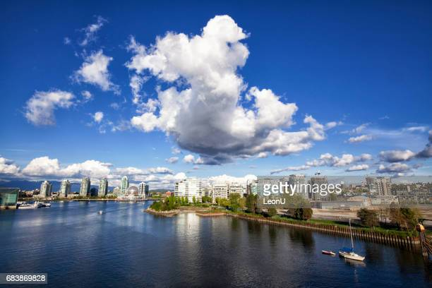 Panoramic view of False Creek in spring, Vancouver, Canada