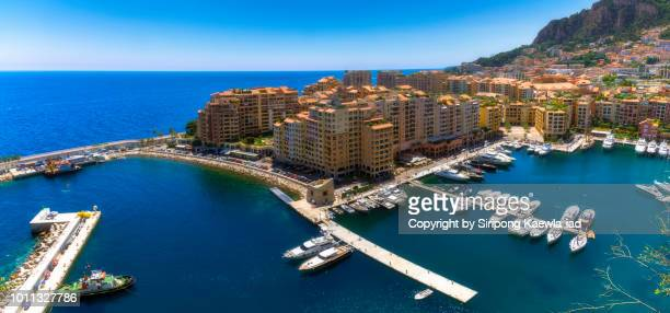 panoramic view of fontvielle port in monaco. - copyright by siripong kaewla iad ストックフォトと画像