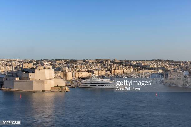 Panoramic view of Fort Saint Angelo, Birgu and Senglea, Malta
