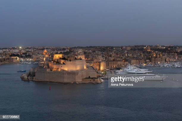 Panoramic view of Fort Saint Angelo, Birgu, Malta, seen from Valletta, Malta