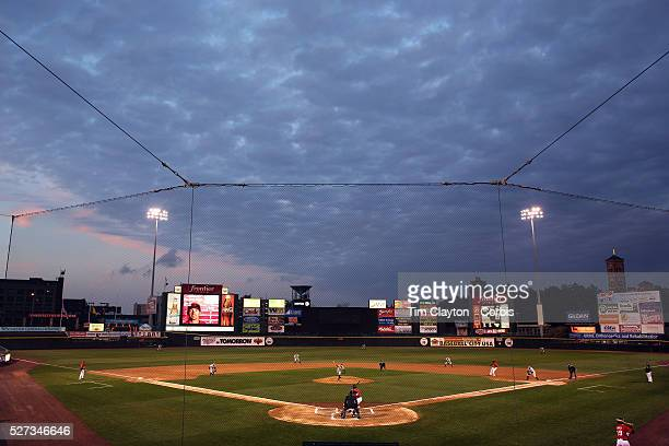 A panoramic view of Frontier Field during the Rochester Red Wings V The Scranton/WilkesBarre RailRiders Minor League ball game at Frontier Field...