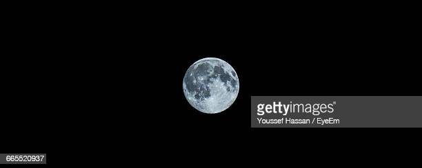 Panoramic View Of Full Moon Against Clear Sky At Night