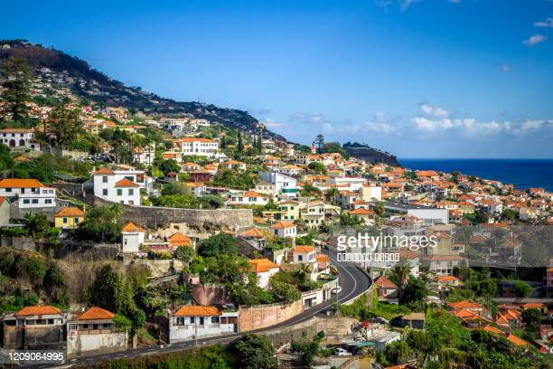 panoramic view of funchal on madeira island. portugal - madeira fotografías e imágenes de stock