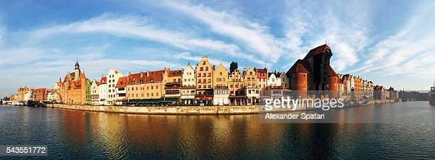 panoramic view of gdansk, poland - motlawa river stock pictures, royalty-free photos & images