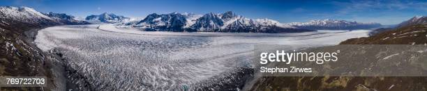 Panoramic view of glacier and mountains during winter, Knik Glacier, Palmer, Alaska, USA