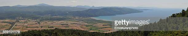 panoramic view of gokova bay - emreturanphoto stock pictures, royalty-free photos & images