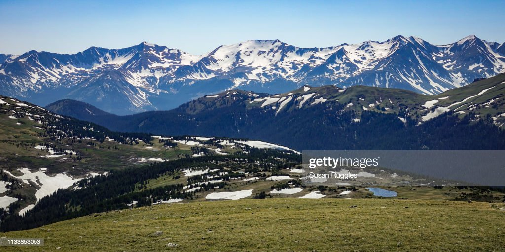 Panoramic View of Gore Range and Continental Divide, Rocky Mountain National Park, Colorado : Stock Photo