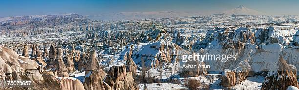 Panoramic view of Goreme in winter.
