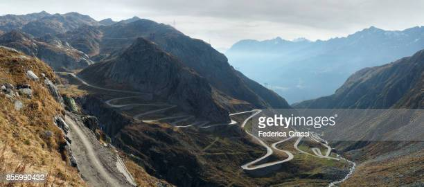 Panoramic View Of Gotthard Pass Tremola Mountain Road