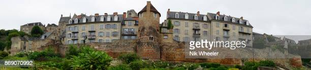 panoramic view of grand posted tower on ancient Gallo-Roman walls of Le Mans, Sarthe, Pays de la Loire, France