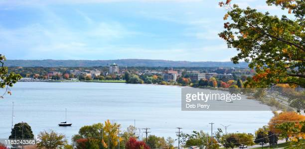 panoramic view of grand traverse bay (west bay) and traverse city, michigan - michigan stock pictures, royalty-free photos & images