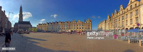 panoramic view of grand-place of the city arras, pas-de-calais department, france - アラス ストックフォトと画像