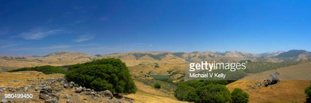 Panoramic view of green hills landscape, Nicasio, Marin County, California, USA