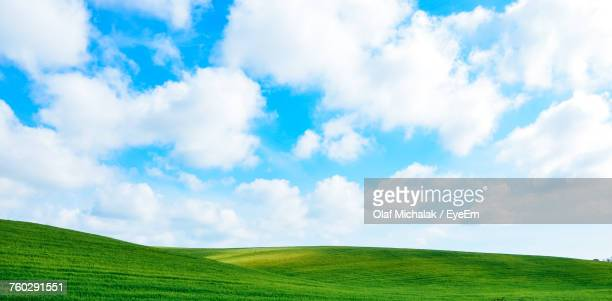 panoramic view of green landscape against sky - horizon over land stock photos and pictures