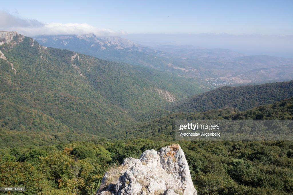Panoramic view of Hapkhal Canyon, Crimean Mountains : Stock Photo