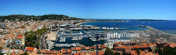 Panoramic view of harbour, Cannes, France