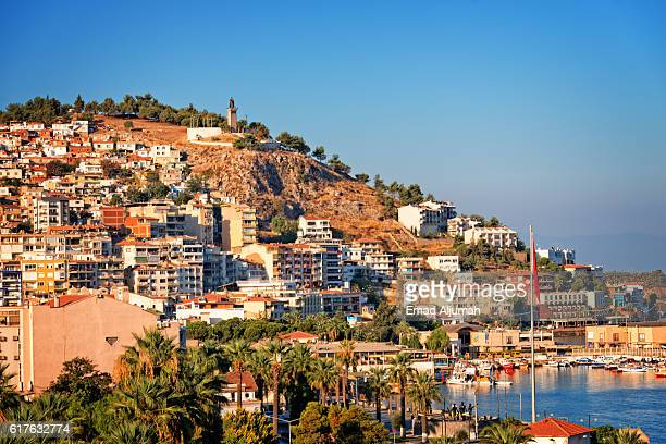 panoramic view of hill with many apartment building and houses, kusadasi, turkey - izmir stock pictures, royalty-free photos & images