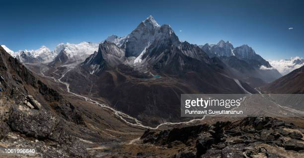Panoramic view of Himalayas mountain on top of Nangkart Shank at Dingboche village, Everest region, Nepal