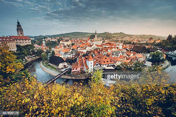 panoramic view of historic old town, cesky krumlov - czech republic stock pictures, royalty-free photos & images