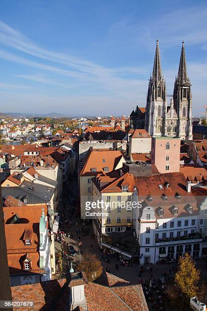 panoramic view of historic regensburg, germany - regensburg stock pictures, royalty-free photos & images