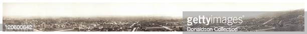 A panoramic view of Hollywood as seen from Hollywood Hills circa 1929 in Los Angeles California