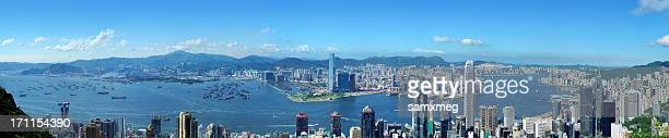 panoramic view of hong kong at day - kowloon stock pictures, royalty-free photos & images