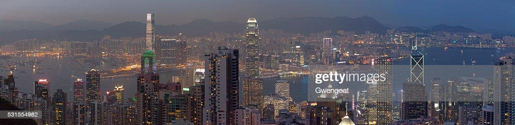 Panoramic view of Hong Kong at dusk : Stock Photo
